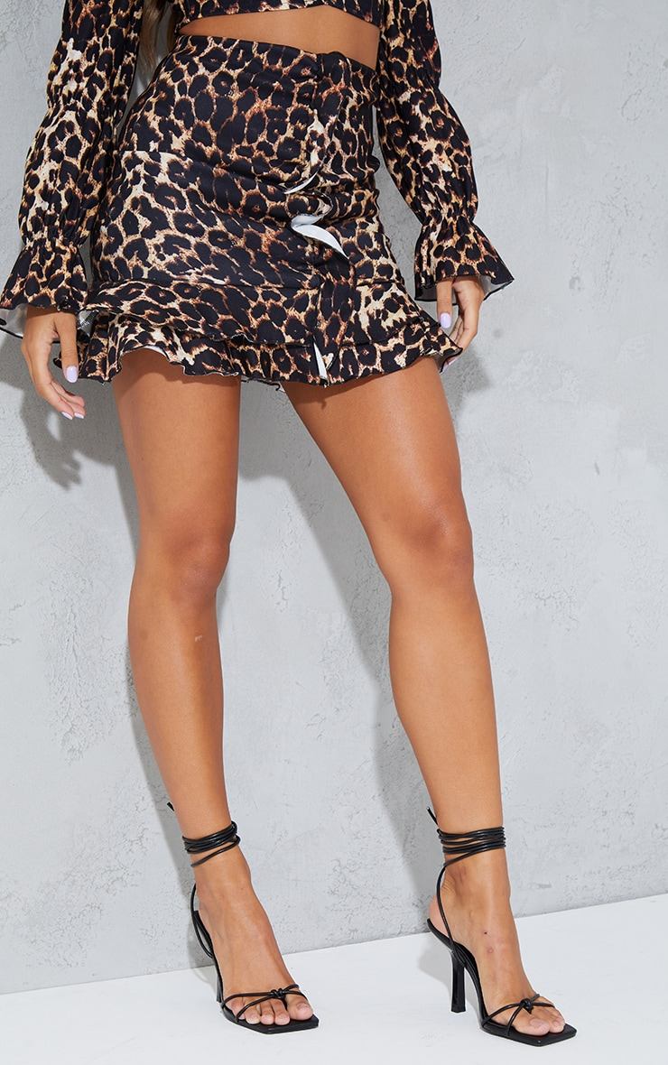 Brown Leopard Print Stretch Woven Frill Ruched Front Mini Skirt 2
