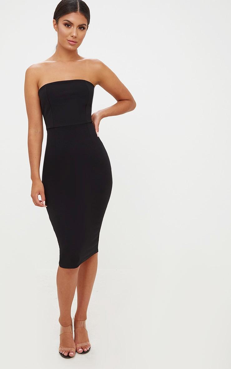 Black Bandeau Split Back Midi Dress 4