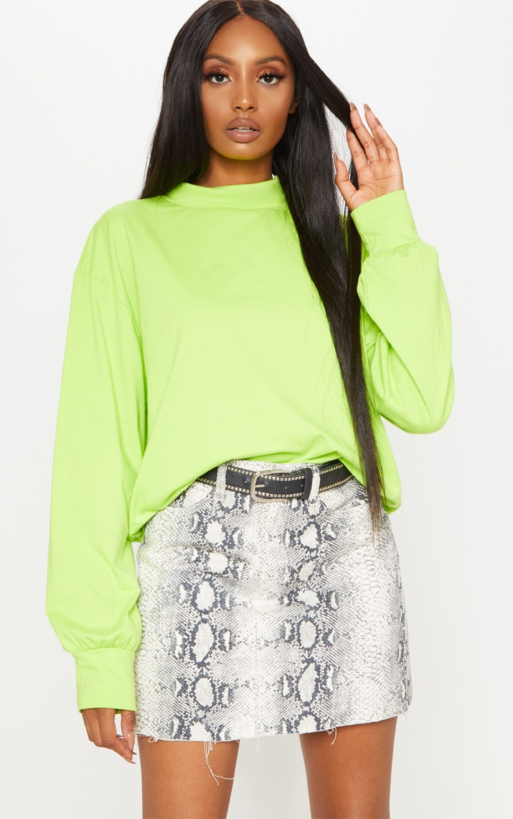 Neon Lime Oversized Roll Neck Top 1