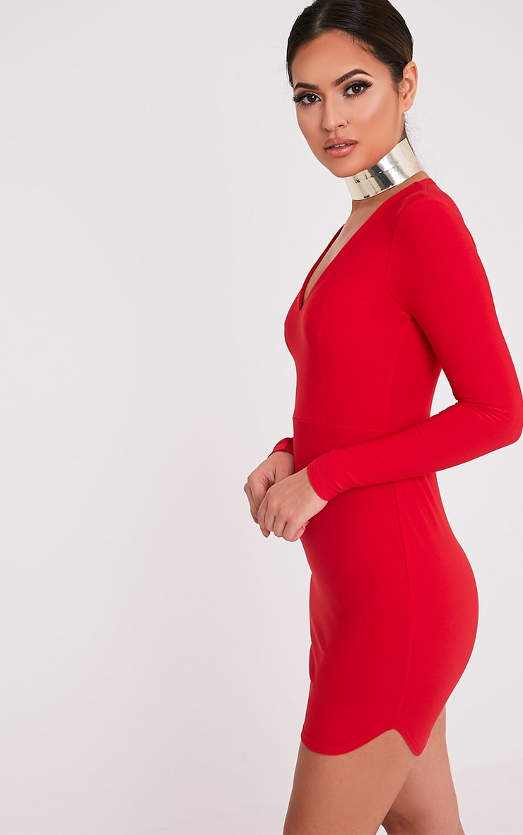 Shylo Red Long Sleeve Plunge Bodycon Dress 4