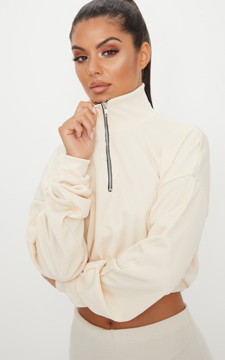 Cream Rib Zip Front Long Sleeve Sweater 1