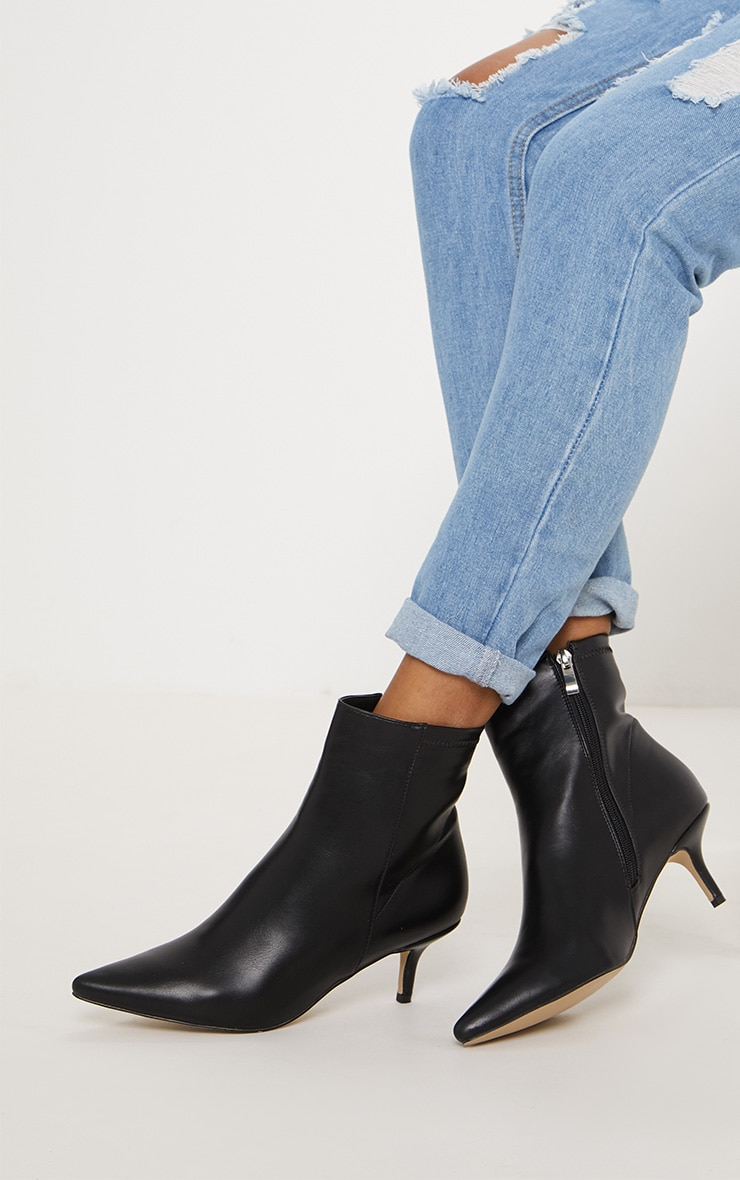 Black Low Heel Ankle Boot
