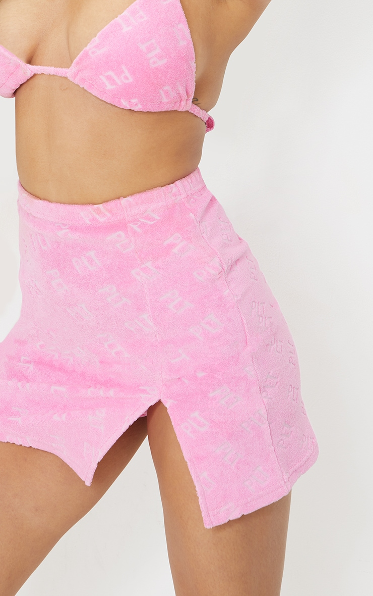 PRETTYLITTLETHING Hot Pink Towelling Mini Skirt 6