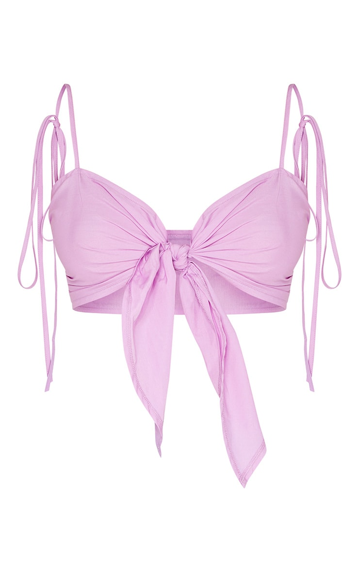 Lilac Tie Front Cami Crop Top 3