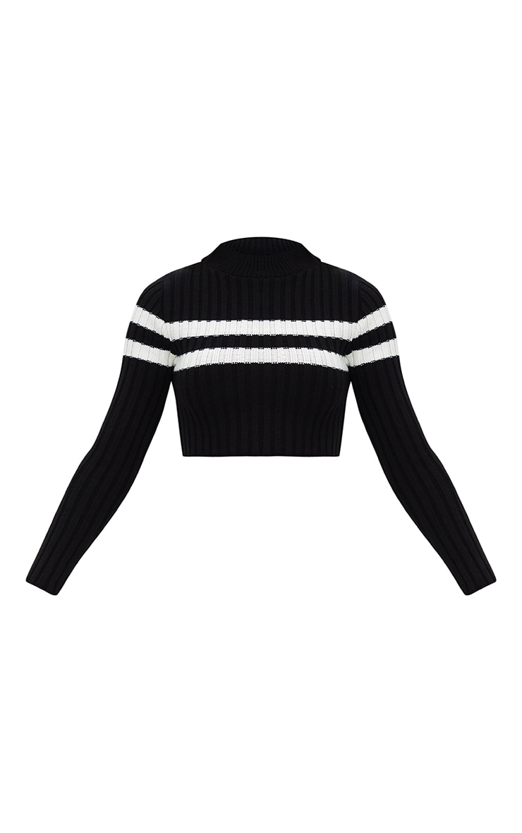 Black Stripe Detail Cropped Knitted Sweater 3