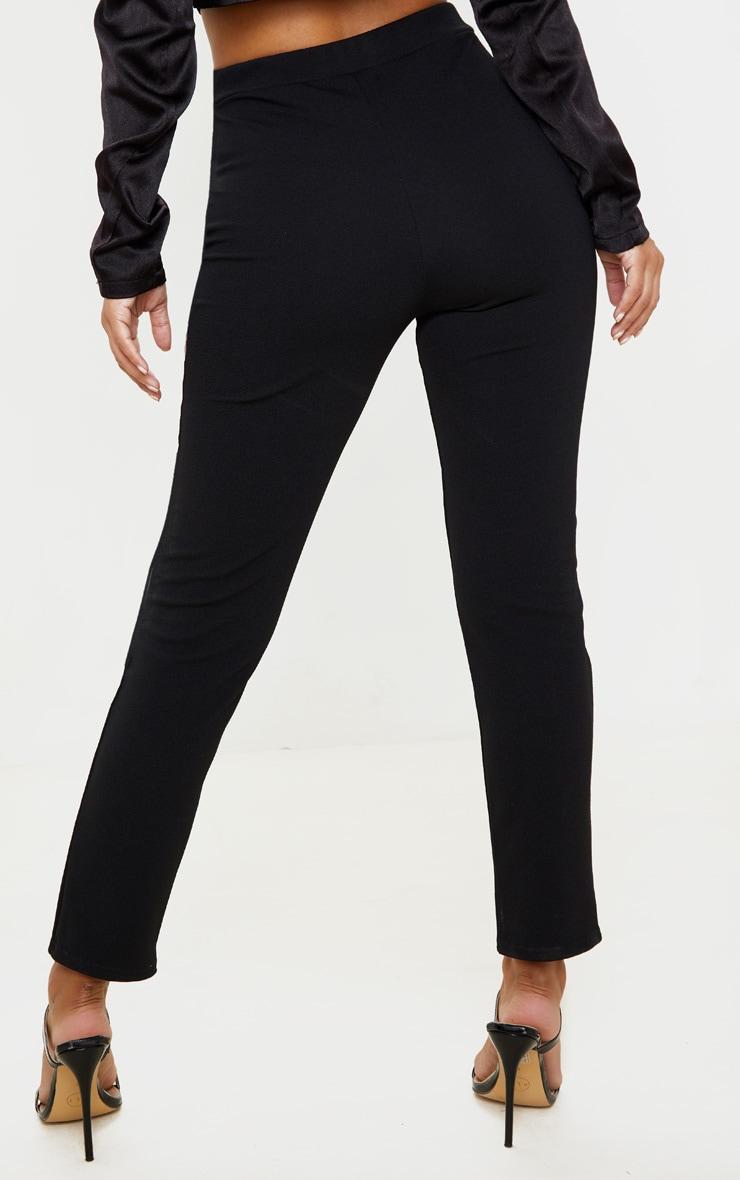 Petite - Pantalon taille haute noir en crêpe fendu 4
