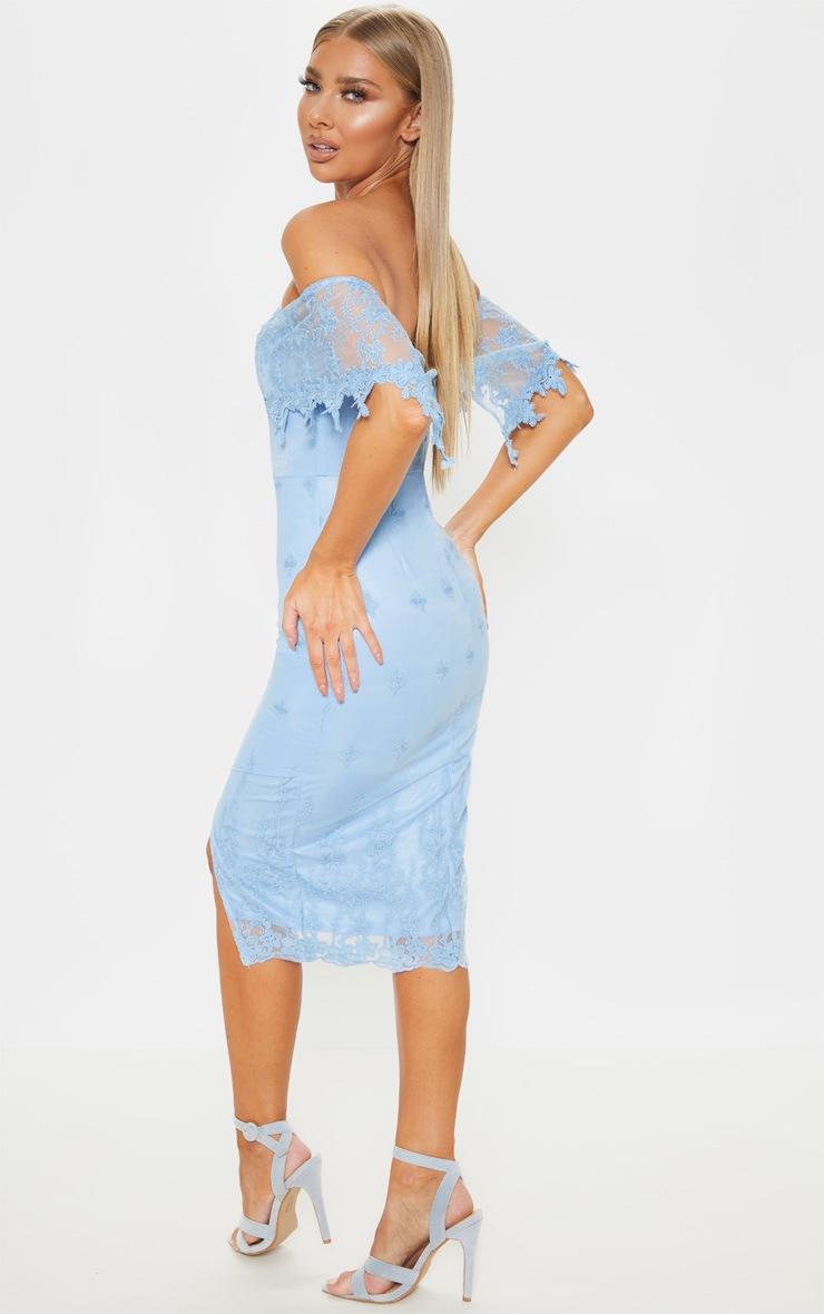 Dusty Blue Lace Bardot Bodycon Midi Dress 2