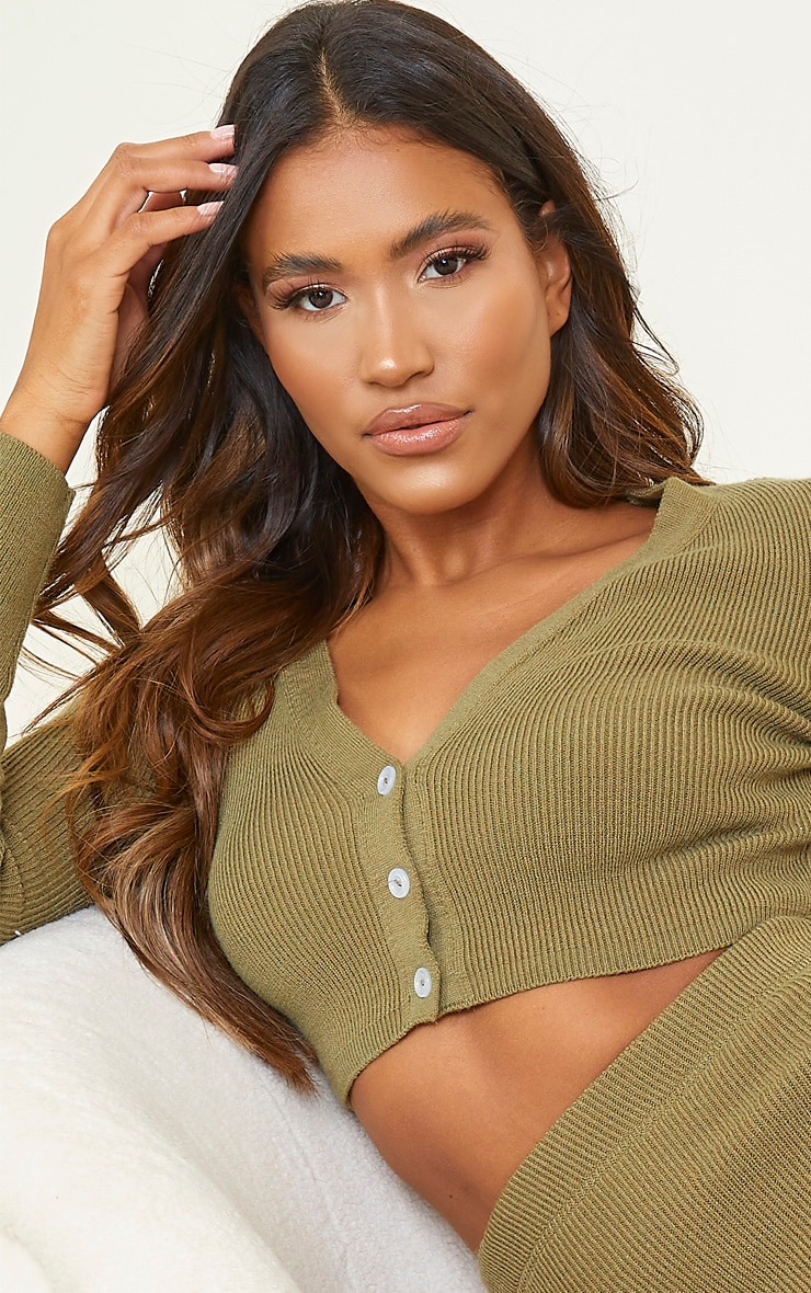 Olive Ribbed Knitted Cropped Cardigan 4