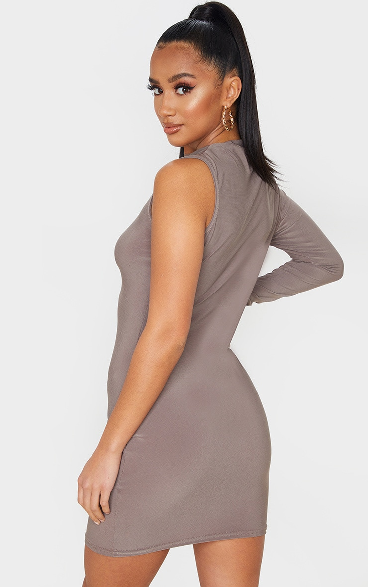 Petite Mocha One Shoulder Long Sleeve Bodycon Dress 2
