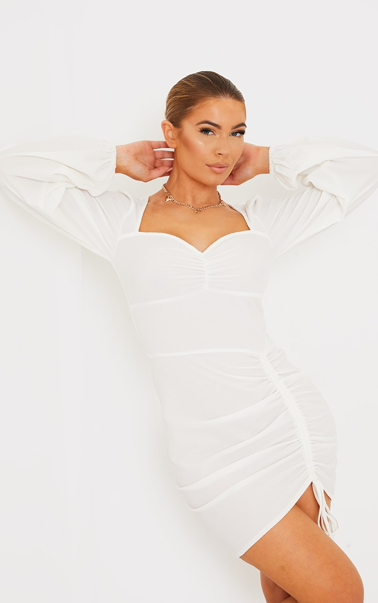 White Textured Ruched Skirt Sweetheart Neck Bodycon Dress 3