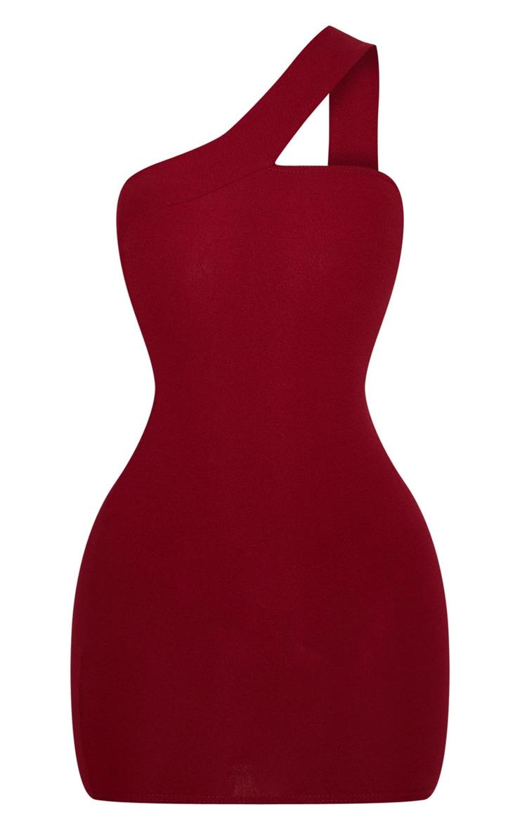 Burgundy One Shoulder  Strap Bodycon Dress 3