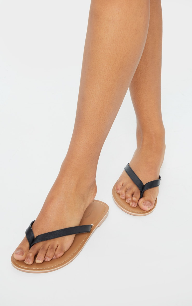 Black Leather Contrast Sole Mule Sandals 1