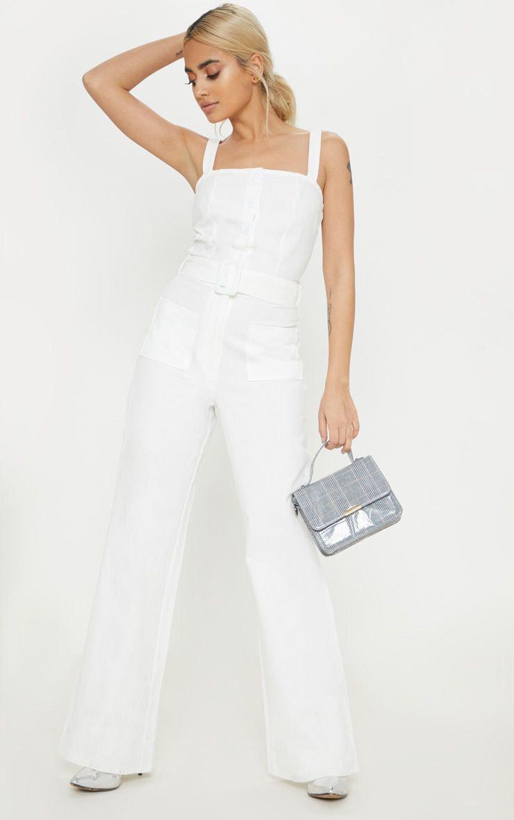 Petite White Wide Leg Square Pocket Button Down Jumpsuit 1