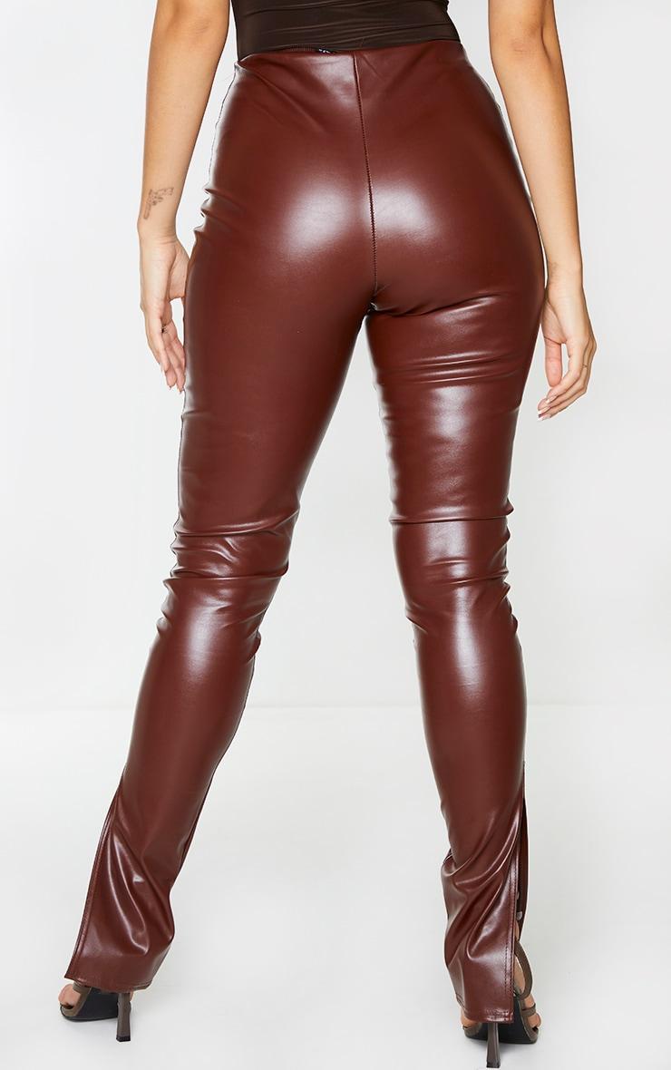 Chocolate Faux Leather Split Hem Leggings 3