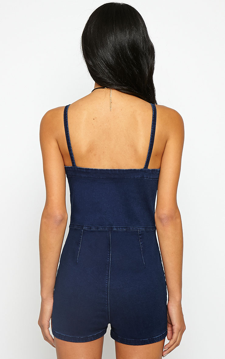 Autumn Blue Denim Button Playsuit 2