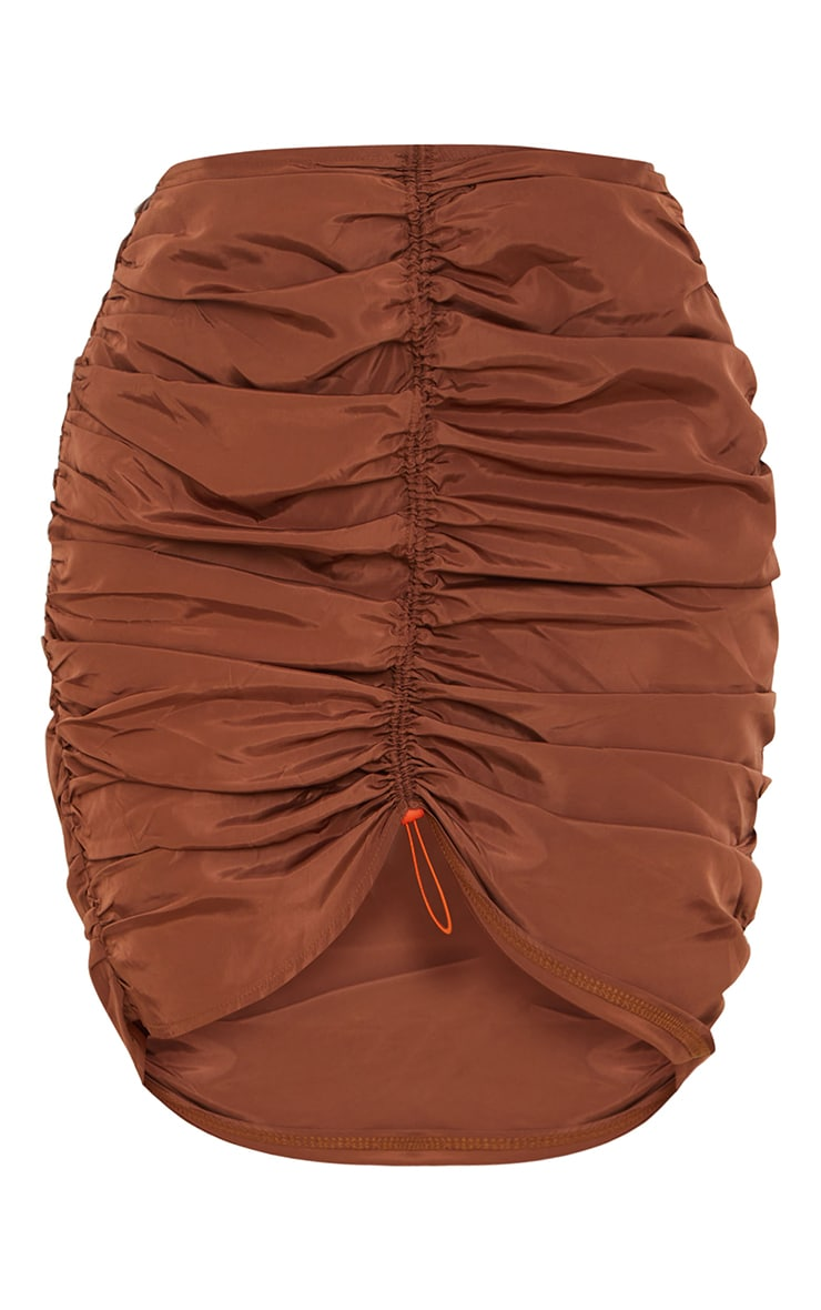 Chocolate Shell Toggle Ruched Front Mini Skirt 5