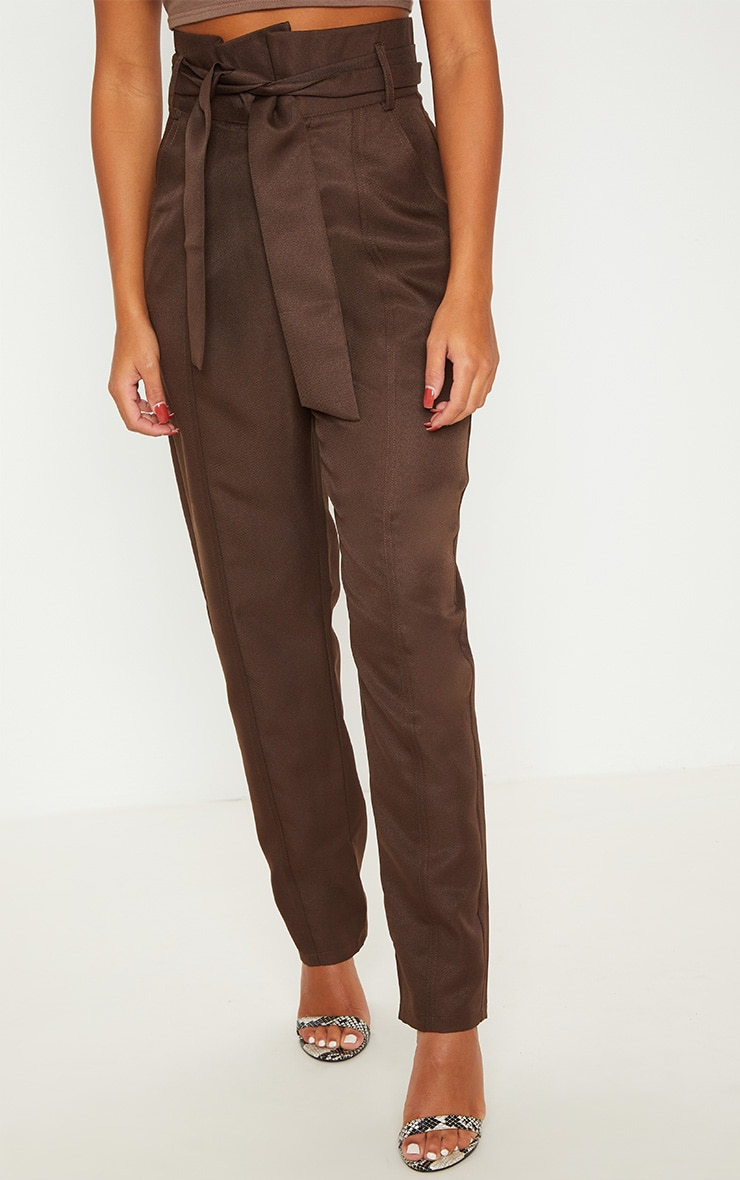 pantalon marron chocolat taille haute pantalons. Black Bedroom Furniture Sets. Home Design Ideas