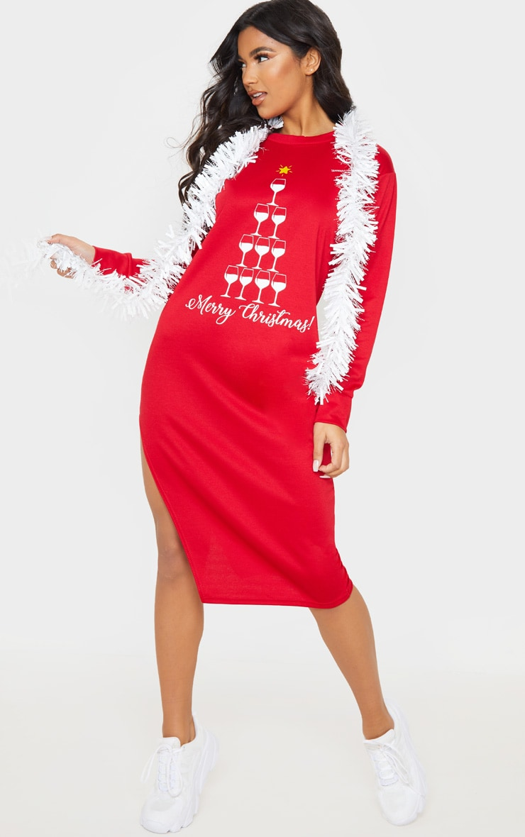 Red Merry Christmas Midi Jumper Dress 1