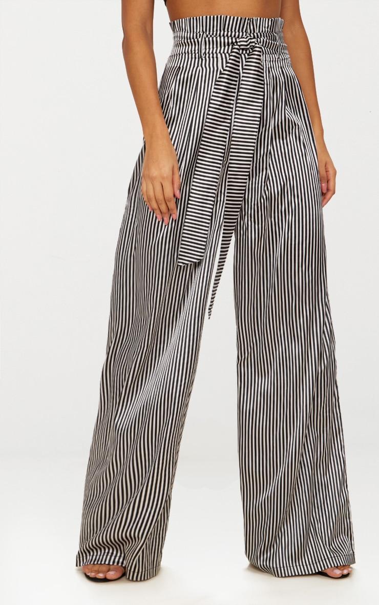 Monochrome Satin Stripe Paperbag Wide Leg Trousers 2