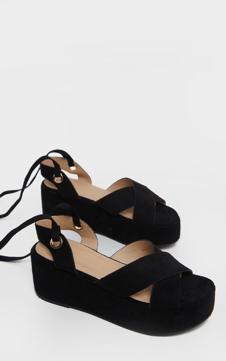 Black Flatform Lace Up Sandal 3