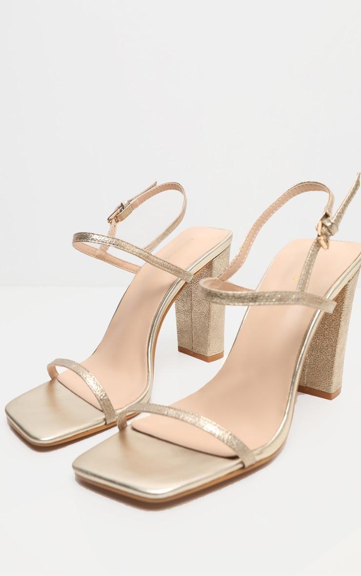 Gold Block Heel Twin Strap Slingback Sandal 3