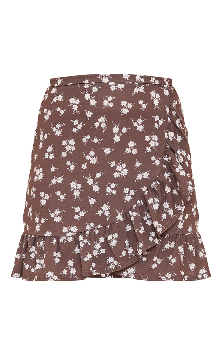 Brown Ditsy Floral Print Frill Hem Wrap Mini Skirt 6