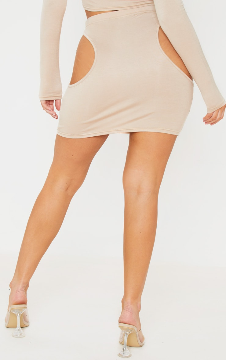 Stone Jersey Cut Out Side Mini Skirt 3