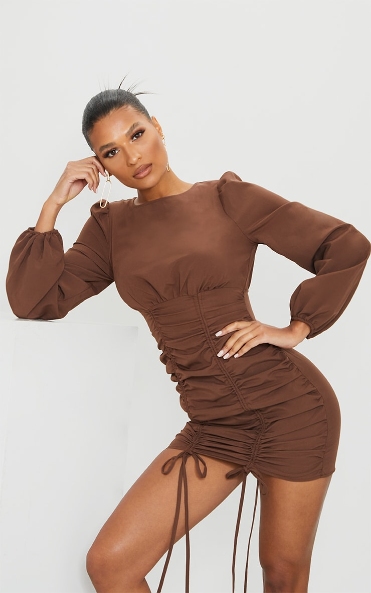 Chocolate Ruched Long Sleeve Bodycon Dress 3