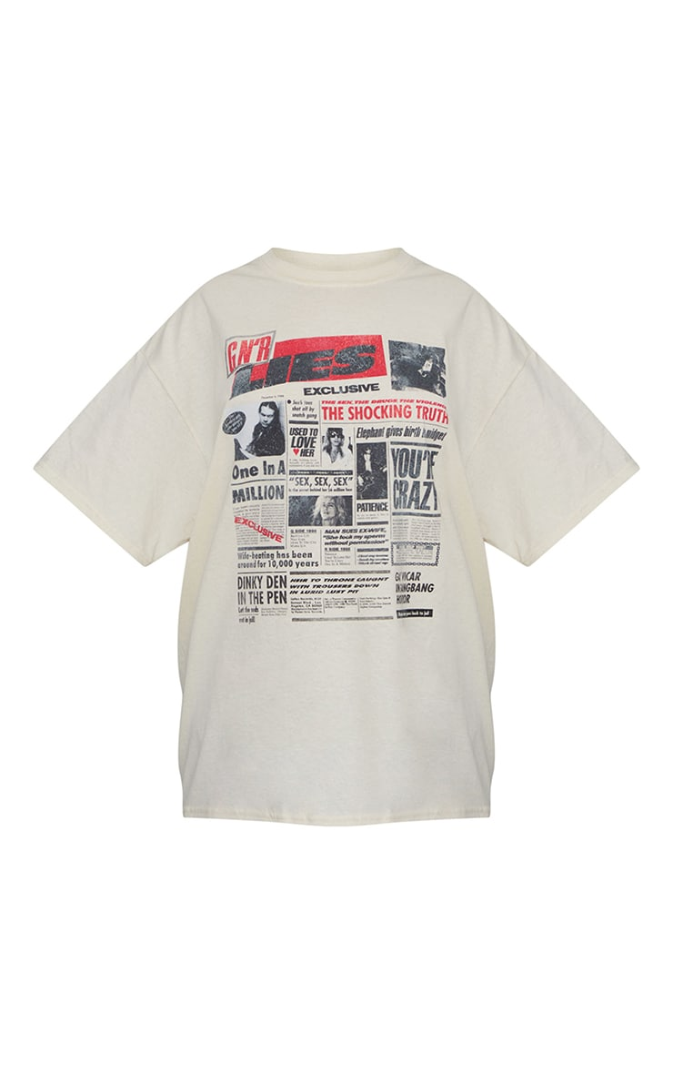 Cream Guns And Roses Front And Back Printed T Shirt 5