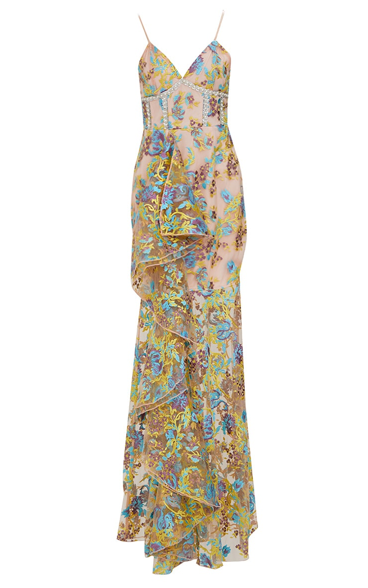 Premium Yellow Floral Embroidered Maxi Dress 4