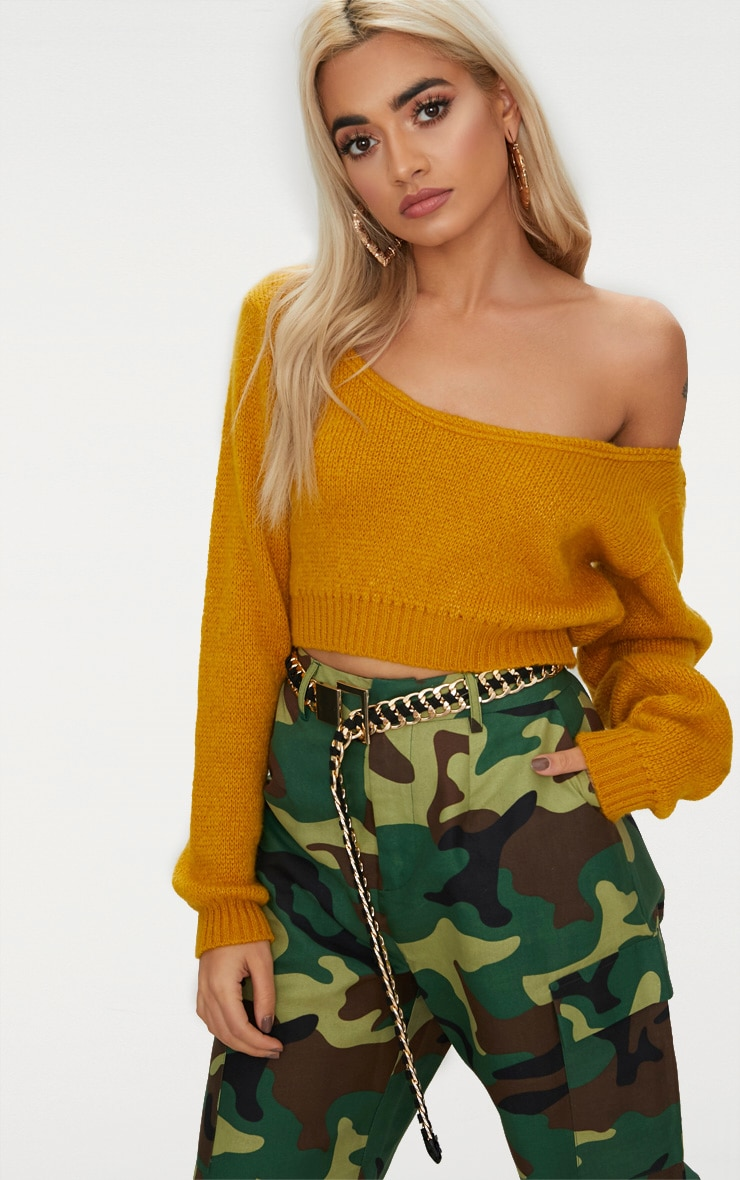 Mustard V Neck Off Shoulder Knitted Cropped Jumper 1