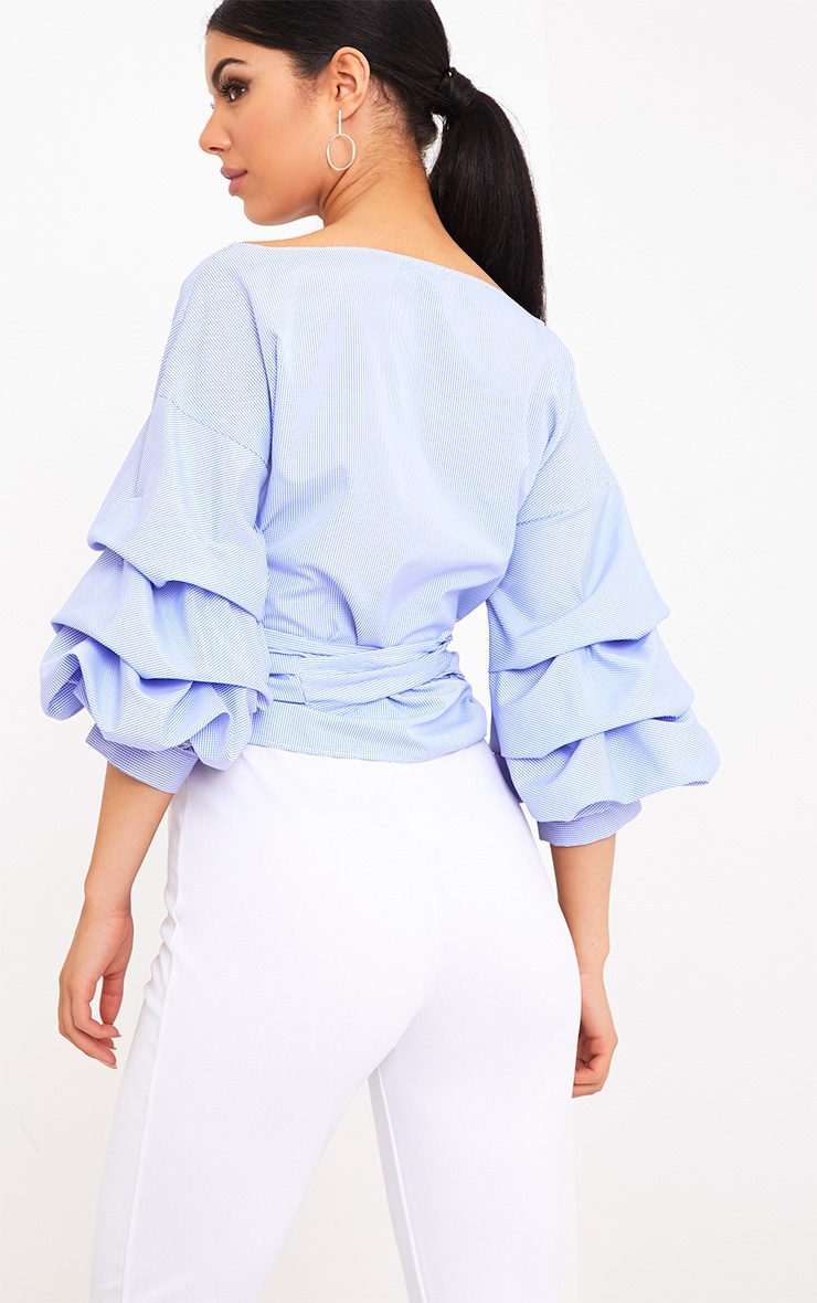 Marlow Blue Check Oversized Ruffle Sleeve Low Shoulder Shirt 2