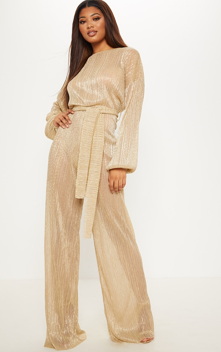 Tall Gold Metallic Sheer Pleated Tie Waist Jumpsuit 1