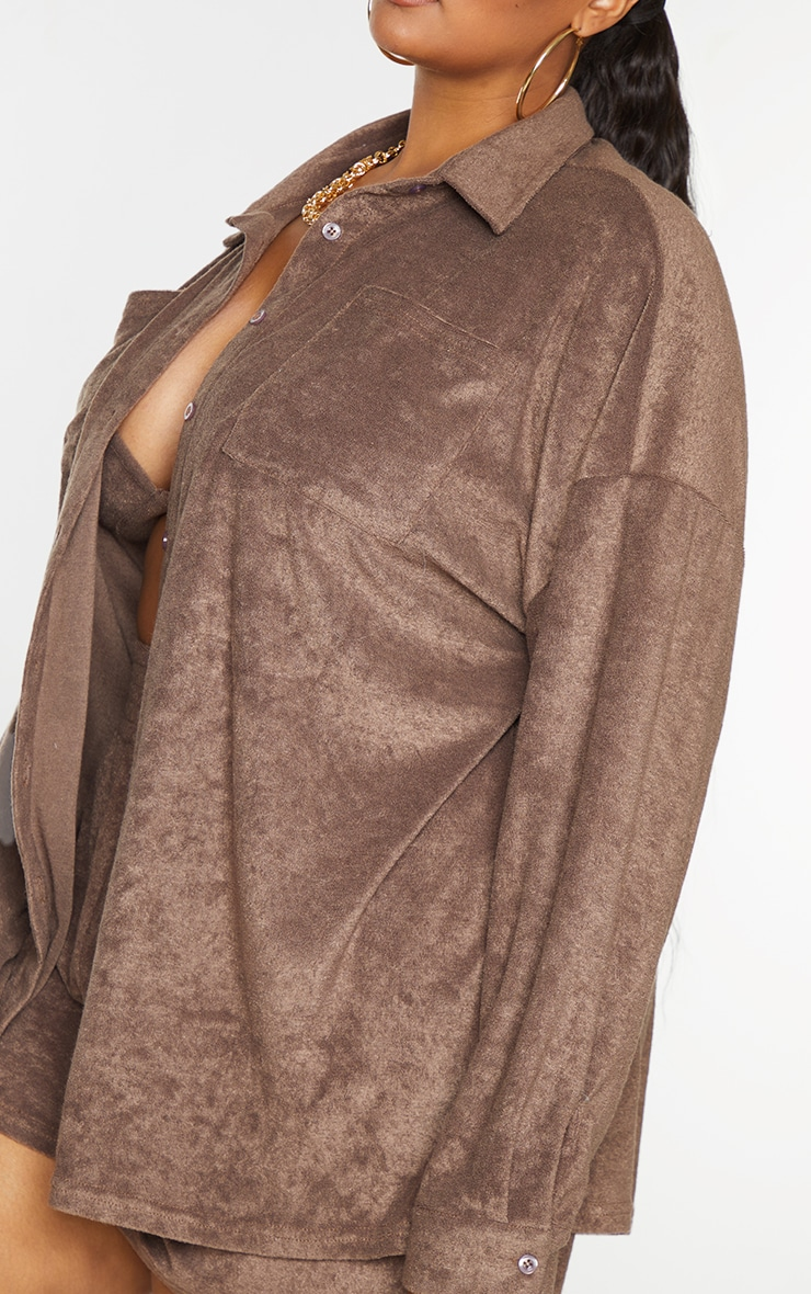 Plus Brown Towelling Oversized Shirt 4