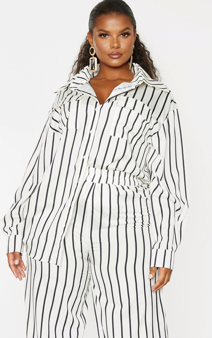 Plus Cream Stripe Print Oversized Shirt 1