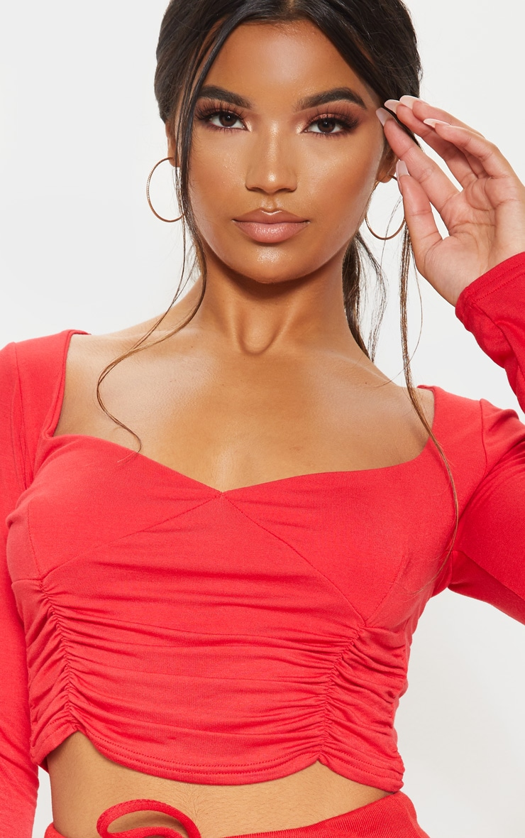 Red Jersey Ruched Front Long Sleeve Crop Top 5