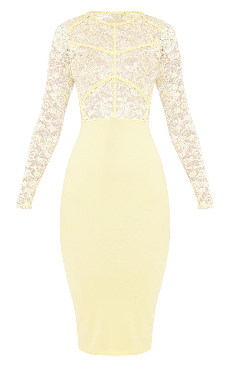 Aspen Lemon Sheer Lace Contrast Midi Dress 3
