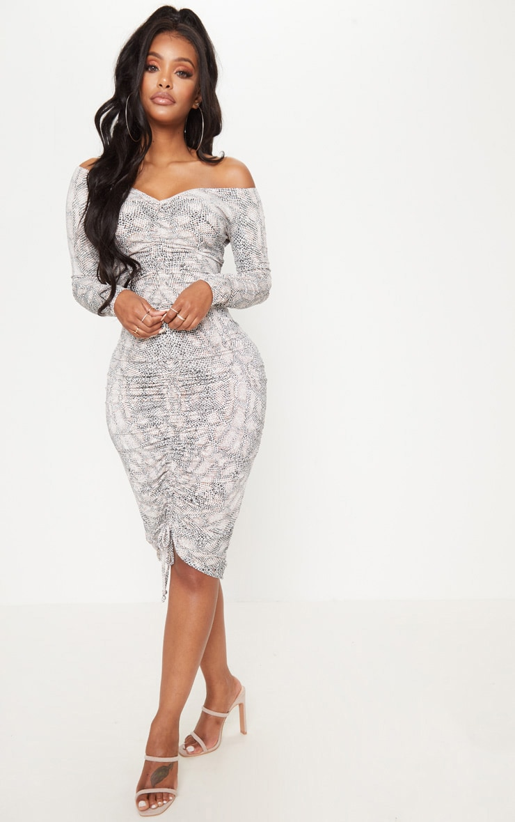 Shape Taupe Snake Print Slinky Ruched Bardot Midi Dress 1