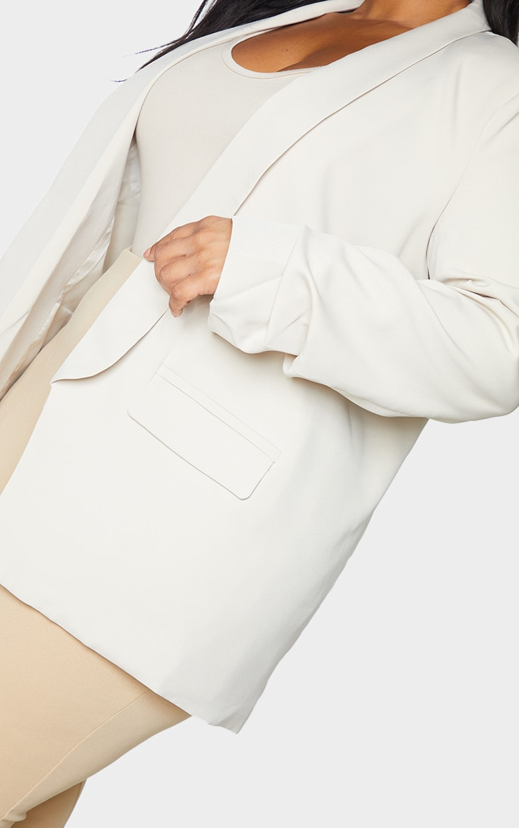 Plus Stone Ruched Sleeve Oversized Blazer 4