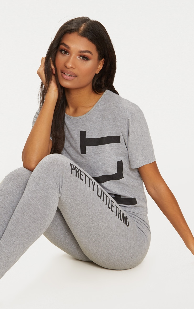 PRETTYLITTLETHING Grey Legging Pyjama Set 3