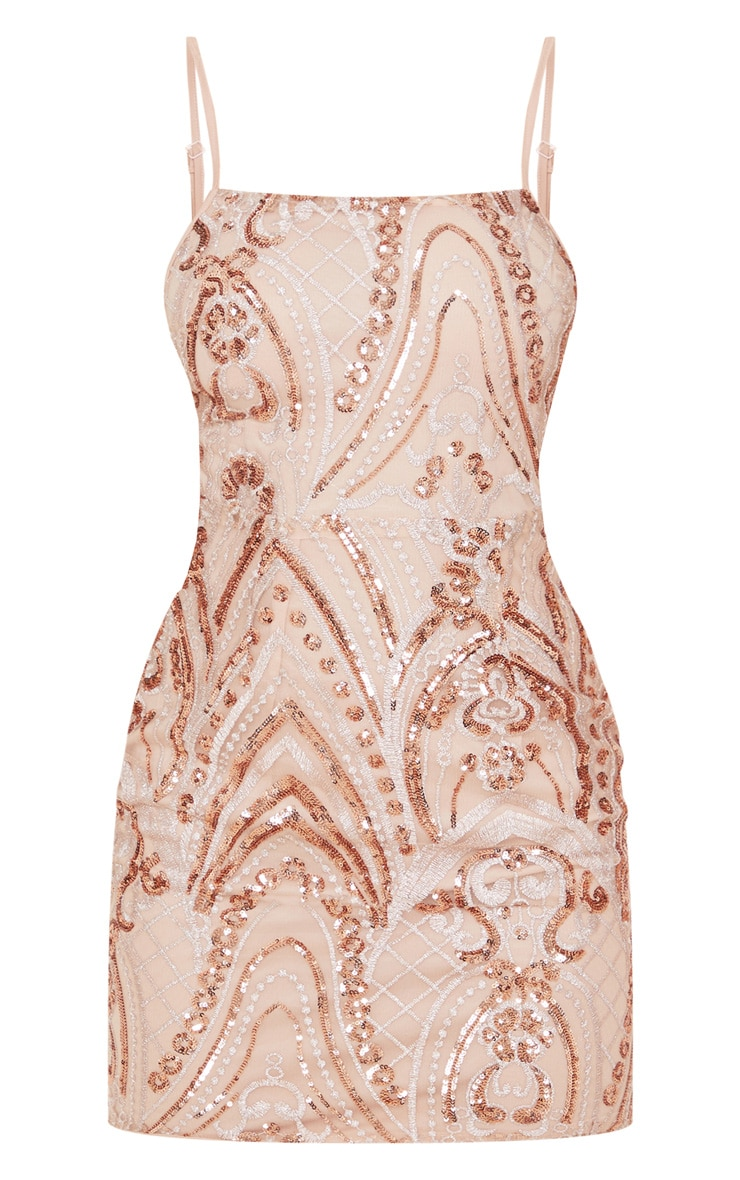 Pink Sequin Embellished Bodycon Dress 3