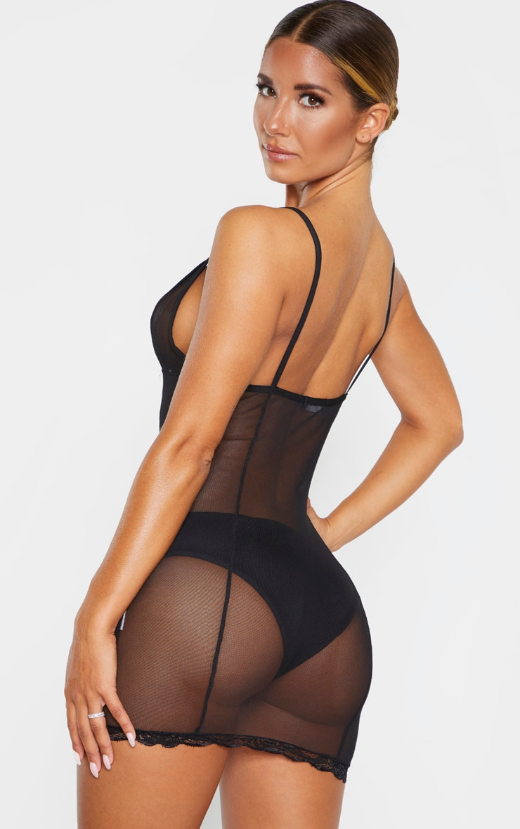 Black Lace Detail Mesh Slip Lingerie Dress 2
