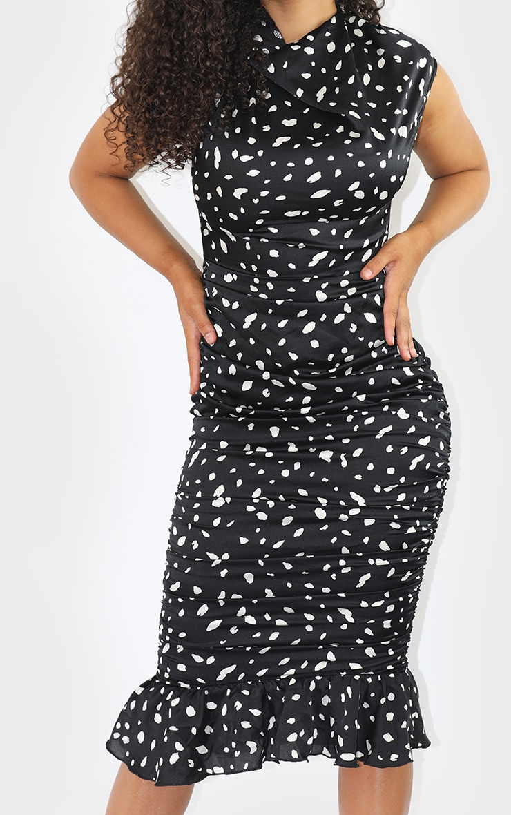 Black Dalmatian Print Sleeveless Ruched Fishtail Midi Dress 4