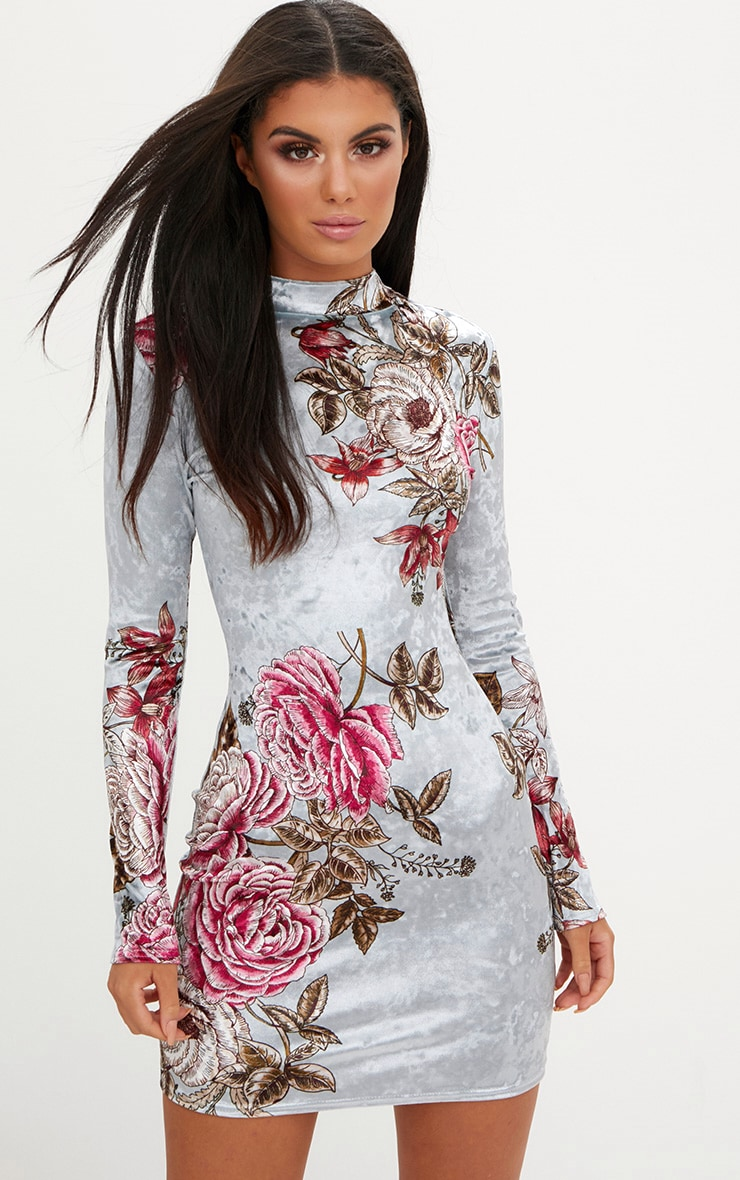 Grey Long Sleeve Floral Velvet Bodycon Dress 1