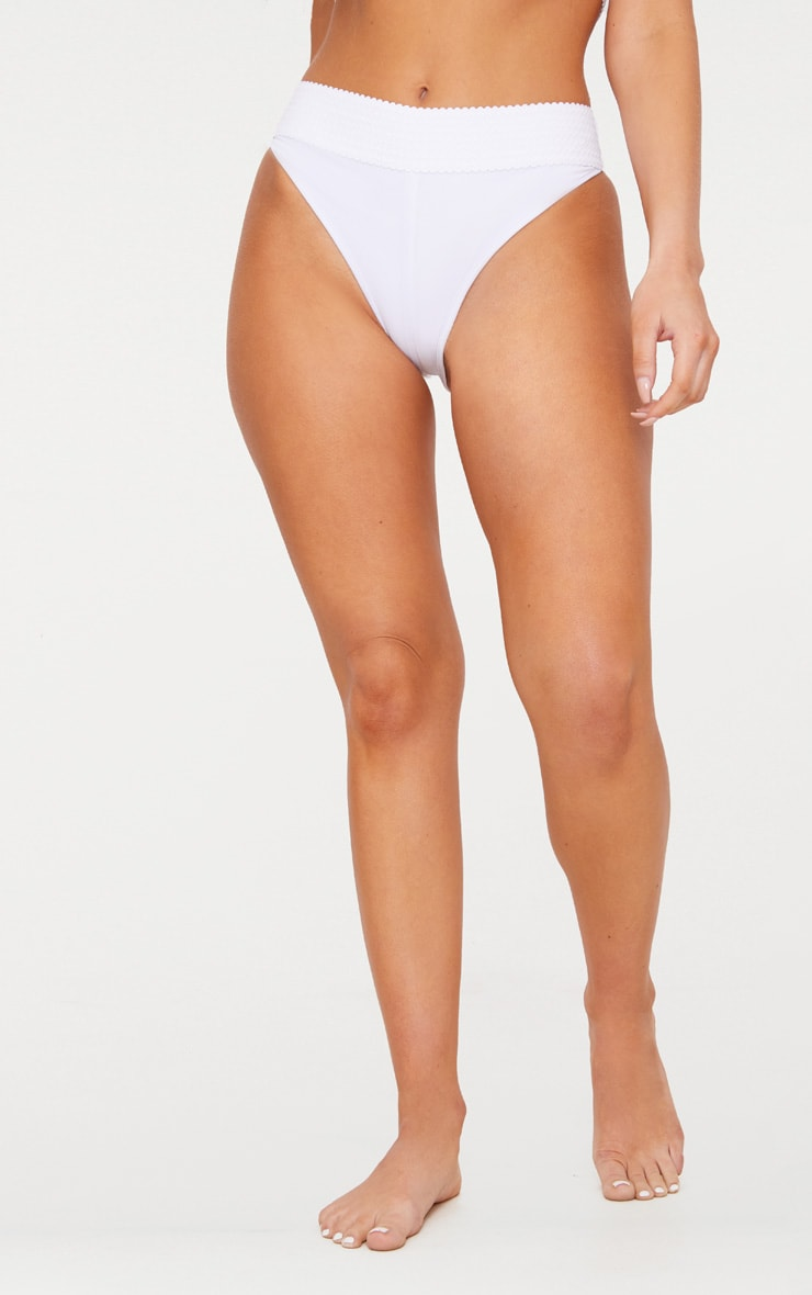 White Bandage Detail Bikini Bottom 2