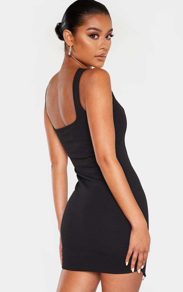 Black Sleeveless Binding Detail Hook And Eye Bodycon Dress 2