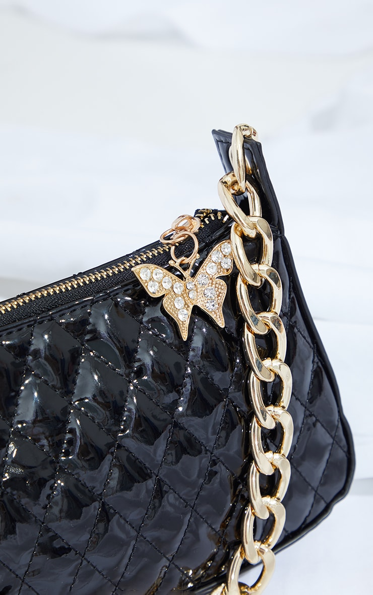 Black Quilted Gold Chain Diamante Butterfly Cross Body Bag 3
