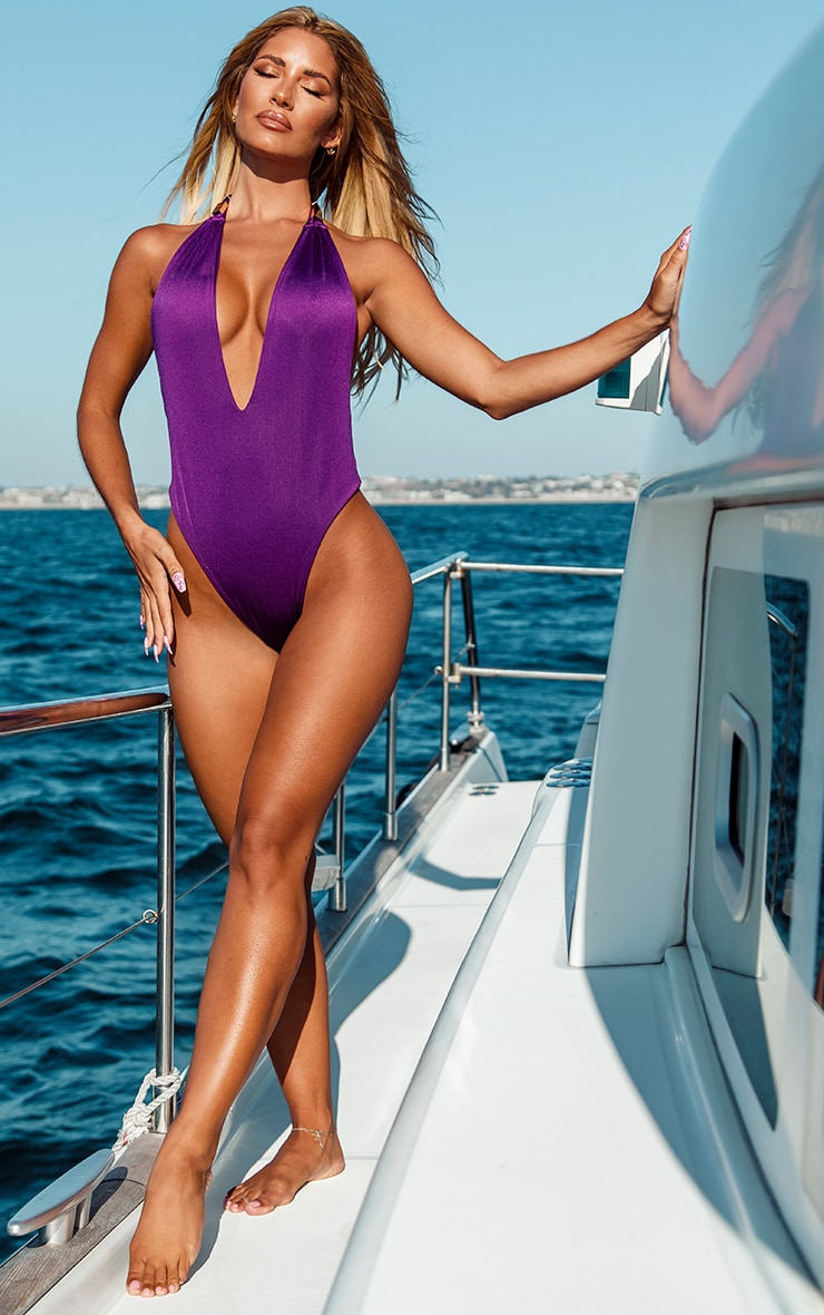 Purple Metal Trim Halterneck Swimsuit