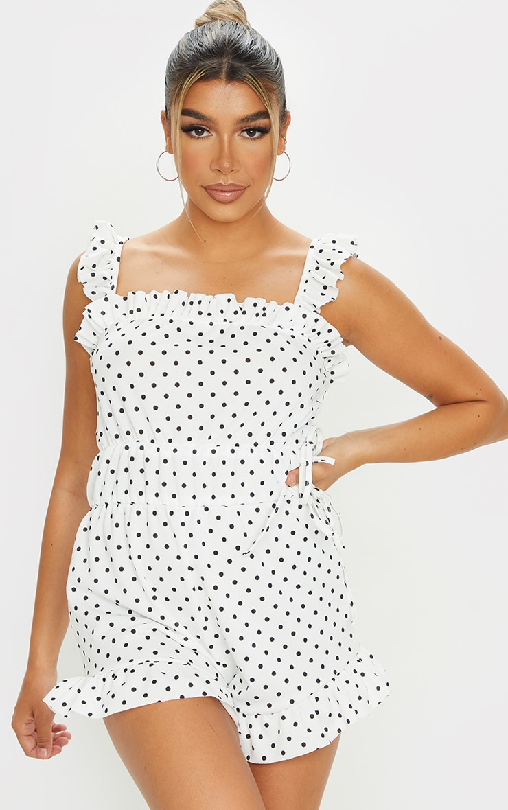 White Polka Dot Frill Detail Tie Waist Playsuit 1