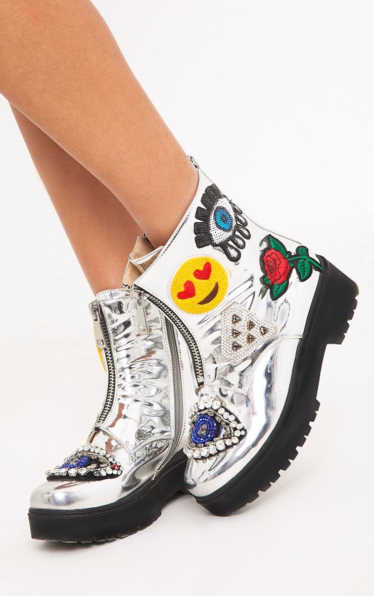 Carinia Silver Metallic Applique Ankle Boots  1